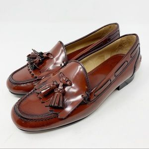 Uterque Burnished  Leather Tassel Loafers